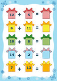 Counting Educational Game for Children. Addition worksheets Stock Images