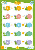 Counting Educational Game for Children. Addition worksheets Royalty Free Stock Image