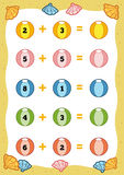 Counting Educational Game for Children. Addition worksheets Stock Photography