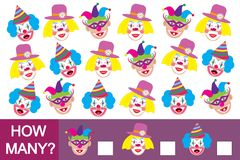 Counting educational game for children. How many clowns? Mathema. Tics Royalty Free Stock Photo