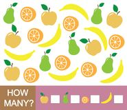 Counting educational game for children. How many fruits apple, pear, orange, banana. Learning numbers, mathematics. Counting educational game for children. How Stock Photo