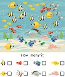 How many different sea fishes. Counting educational game with different sea animals for kids. Counting educational game with different sea animals for preschool vector illustration