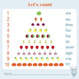 Counting educational, kids activity sheet. Learning numbers 1-10 Stock Images
