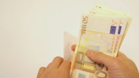 Counting euro cash stock video footage