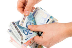 Counting euro money Royalty Free Stock Photography