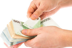 Counting euro money Stock Photography