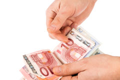 Counting euro money Royalty Free Stock Image