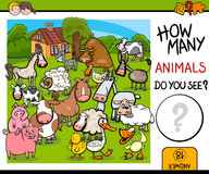 Counting farm animals activity Royalty Free Stock Image