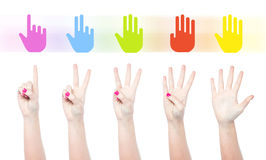 Counting female hands. Counting woman hands with colorful graphics stock illustration