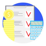 Counting financial budget vector icon. Stock of golden coin with calculator and checklist illustration Royalty Free Stock Photos