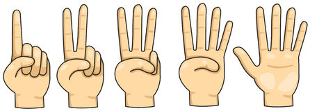 Counting finger 1,2,3,4 and 5 Stock Image