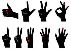 Counting fingers. Vector siluettes of fingers counting from 0 to 5 vector illustration