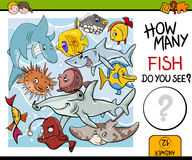 Counting fish preschool task Royalty Free Stock Image