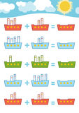 Counting Game. Addition worksheets Stock Photos