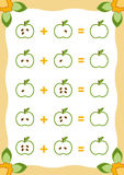 Counting Game for Children. Addition worksheets with apples Royalty Free Stock Photos