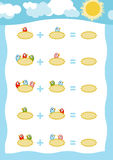 Counting Game for Children. Addition worksheets, birds in the nest. Counting Game for Preschool Children. Educational a mathematical game. Count the numbers in Royalty Free Stock Image