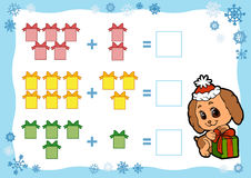 Counting Game for Children. Addition worksheets. Christmas gifts. Counting Game for Preschool Children. Addition worksheets. Christmas gifts. Educational a Stock Photos