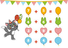 Counting Game for Children. Addition worksheets. Counting Game for Preschool Children. Educational a mathematical game. Count the numbers in the picture and royalty free illustration