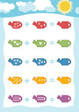 Counting Game for Children. Addition worksheets with watering can Royalty Free Stock Images