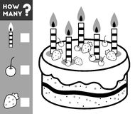 Counting Game for Children. Count how many cake ingredients. Counting Game for Preschool Children. Educational a mathematical game. Count how many cake royalty free illustration