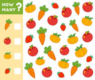 Counting Game for Children. Count how many fruits, vegetables. Counting Game for Preschool Children. Educational a mathematical game. Count how many fruits stock illustration