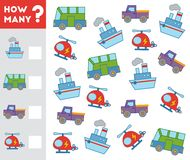 Counting Game for Children. Count how many transport objects. Counting Game for Preschool Children. Educational a mathematical game. Count how many transport royalty free illustration