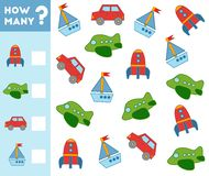 Counting Game for Children. Count how many transport objects. Counting Game for Preschool Children. Educational a mathematical game. Count how many transport stock illustration