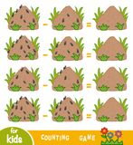 Counting Game for Children. Count the number of ants on anthills. Counting Game for Preschool Children. Educational a mathematical game. Count the number of ants vector illustration