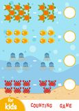 Counting Game for Children. Count the number of sea animals royalty free illustration