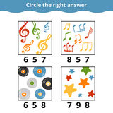 Counting Game for Children. Education game with music items Royalty Free Stock Images