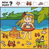 Counting Game for Children. Educational game. Girl on the beach Stock Image