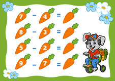 Counting Game for Children. Subtraction worksheets. Rabbit Royalty Free Stock Photos