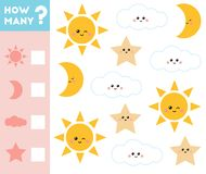 Counting Game For Children. Educational A Mathematical Game. Count How Many Stars, Clouds, Suns, Moons And Write The Result Royalty Free Stock Image