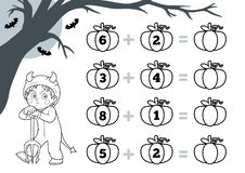 Free Counting Game For Preschool Children. Halloween Characters, Devil. Educational A Mathematical Game. Addition Worksheets Stock Photo - 162807530