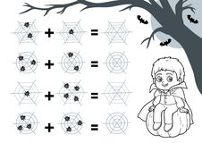 Free Counting Game For Preschool Children. Halloween Characters, Vampire. Educational A Mathematical Game. Addition Worksheets Stock Photos - 162807523