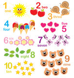 Counting game for kids. A counting game with colorful sketches for educational purposes royalty free illustration