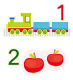 Counting game: number 1 & 2. A counting game for children: Number one with a locomotive and number two with two apples vector illustration