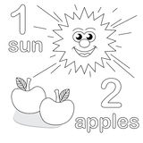 Counting game with number 1 & 2. A counting game for children: There is one sun and two apples. The sketches in black and white are also very useful for coloring royalty free illustration