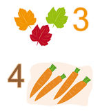 Counting game: number 3 & 4. A counting game for children: Number three with three leaves and number four with four carrots stock illustration