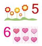 Counting game: number 5 & 6. A counting game for children: Number five with five flowers and number six with six hearts vector illustration