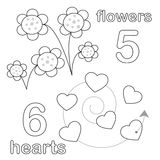 Counting game with number 5 & 6. A counting game for children: There are five flowers and six hearts. The sketches in black and white are also very useful for royalty free illustration