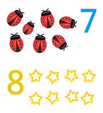 Counting game: number 7 & 8. A counting game for children: Number seven with seven ladybugs and number eight with eight stars stock illustration