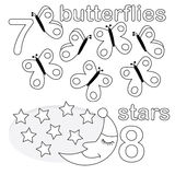 Counting game with number 7 & 8. A counting game for children: There are seven butterflies and eight stars. The sketches in black and white are also very useful vector illustration