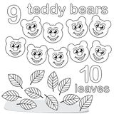 Counting game with number 9 & 10. A counting game for children: There are nine teddy bears and ten leaves. The sketches in black and white are also very useful vector illustration