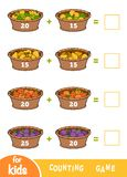 Counting Game for Preschool Children. Addition worksheets. Fruit baskets royalty free illustration