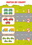 Counting Game for Preschool Children. Count cars in the picture. Counting Game for Preschool Children. Educational a mathematical game. Count cars in the picture vector illustration