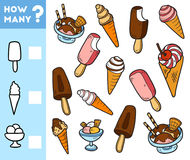 Counting Game for Preschool Children. Count how many ice cream Stock Photography