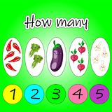 Counting Game for Preschool Children. Educational a mathematical game. Count how many fruits, vegetables and write the result stock illustration