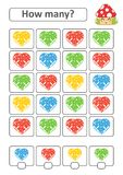 Counting game for preschool children for the development of mathematical abilities. How many hearts of different colors. With a pl. Ace for answers. Simple flat Stock Illustration