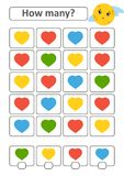 Counting game for preschool children for the development of mathematical abilities. How many hearts of different colors. With a pl. Ace for answers. Simple flat Royalty Free Illustration